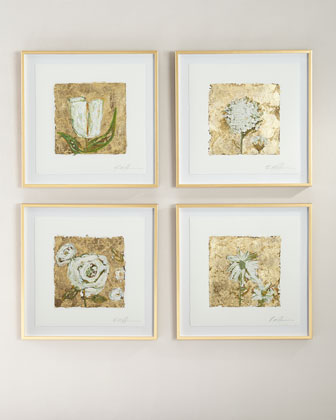 Metallic-Accent Floral Giclees