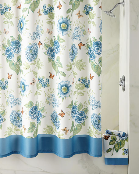 Blue Flower Garden Shower Curtain Hooks, Set of 12