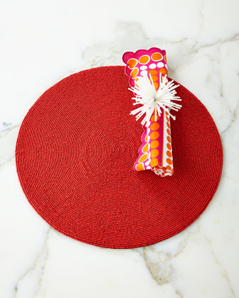 Round Seed-Bead Placemat, Pop Napkin, & Snowball Napkin Ring