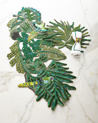 Rain Forest Table Runner & Placemat, Corded Ombre Napkin, & Shoo Fly Napkin Rings