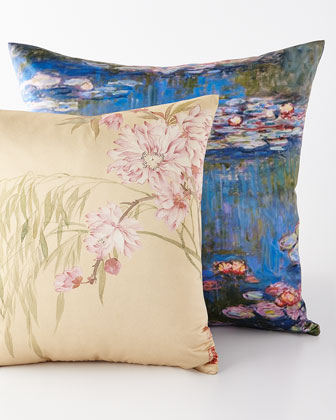 Pink Blossoms & Monet Purple Water Lilies Pillows