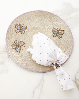 Beaded Butterfly Placemat, Mini-Dot Napkin, & Butterfly Napkin Ring