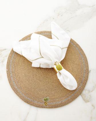 Beaded Pineapple Placemat, White/Gold Napkin, & Pineapple Napkin Ring