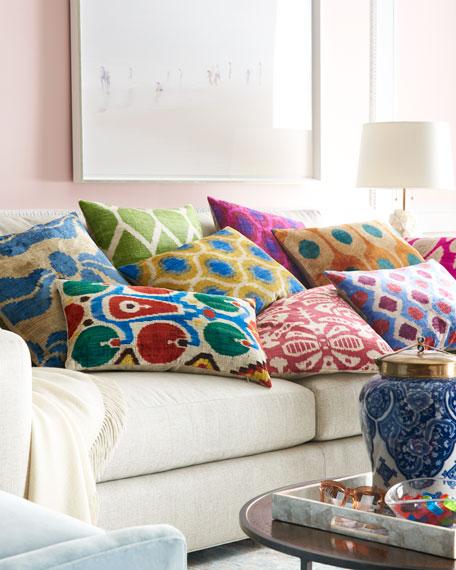 """Blue Print Silk Velvet Pillow, 20""""Sq."""