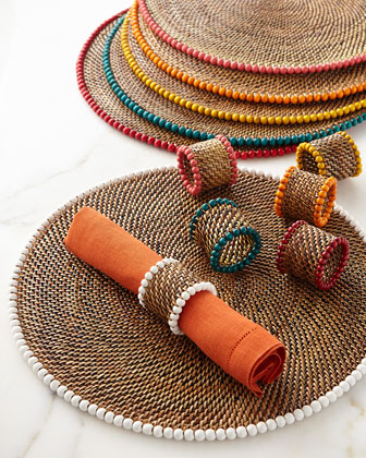 Four Bead-Rimmed Napkin Rings and Matching Items