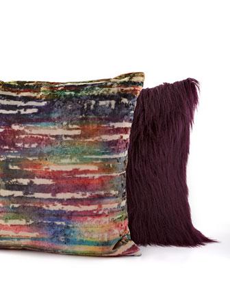 Plum and Multi Stripe Pillows