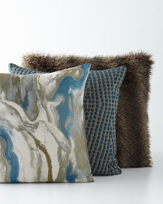 Dixon Marbled Pillow, Taylor Pillow & Mogli Minx Faux-Fur Pillow