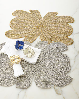 Peacock Hand-Beaded Placemats & Floral Napkin Rings