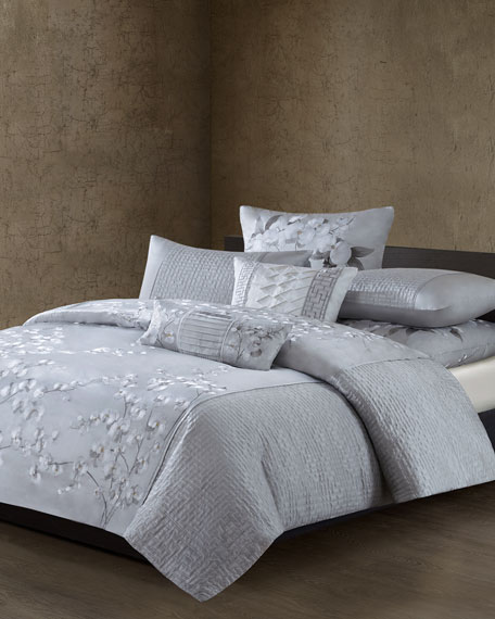 Quilted White Orchid Duvet Cover, Queen