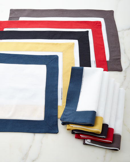 Color Border Hemstitch Placemats, Set of 4