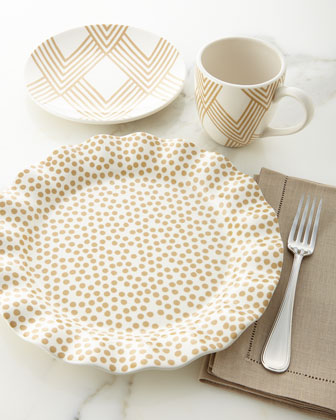 Small-Dot Ruffle Salad Plates, Set of 4 and Matching Items