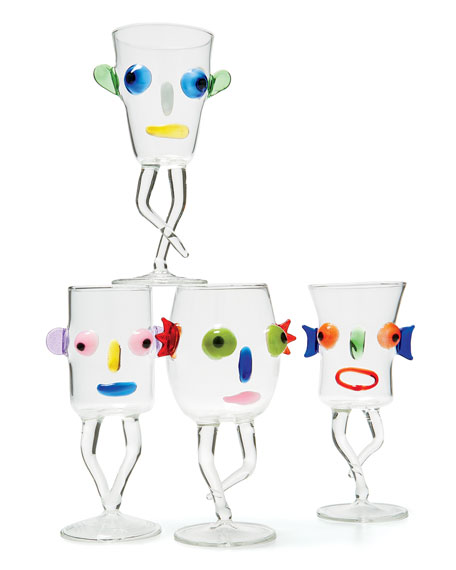 Blues Face Drinking Glass, Green/Black