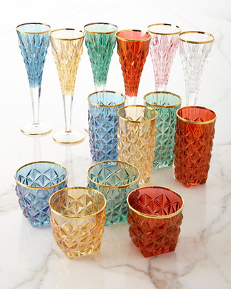 Faceted Champagne Flutes, Set of 6  and Matching Items