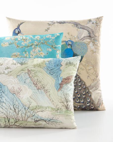 Blue Green Hillside Lumbar Pillow