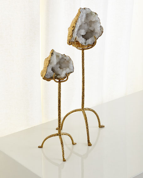 White Quartz Geode on Brass Stand, Tall