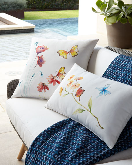 "Hand-Painted Butterfly Lumbar Pillow, 15"" x 26"""
