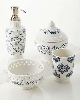 lakki porcelain tumbler blue and matching items - Bathroom Accessories Luxury