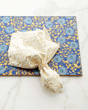 Flower Lace Mirror Placemat  Blue/Gold  and Matching Items