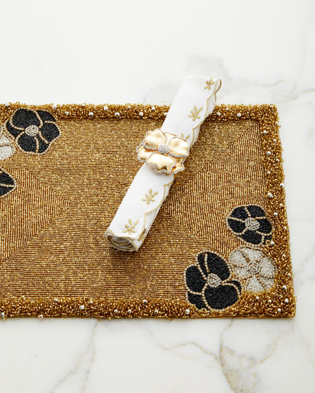 Flower-Embroidered Linen Napkin, Gold