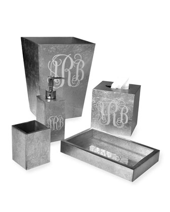 Eos Monogram Wood Brush Holder  Silver  and Matching Items