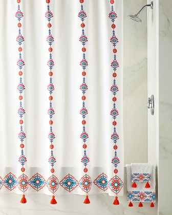 Aloka Shower Curtain, Coral and Matching Items