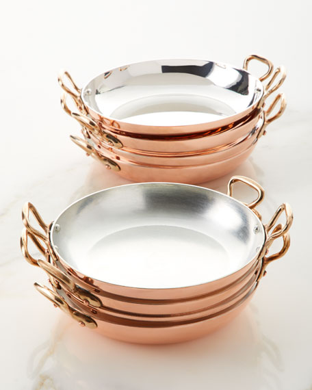 Solid Copper Au Gratin Pans with Tin Lining, Set of 4