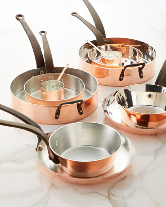 Solid Copper Tin-Lined Pans, Set of 5 and Matching Items