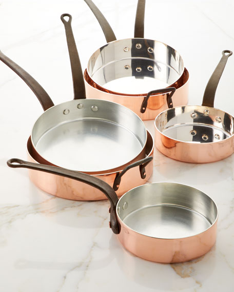 Solid Copper Saute Pan with Silver Lining