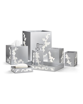Hex Wastebasket, Silver  and Matching Items