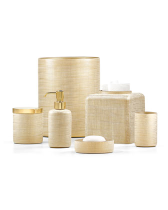 Woven Wastebasket  Gold and Matching Items