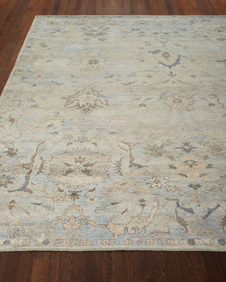 Cyan Sky Hand-Knotted Rug, 10' x 14'