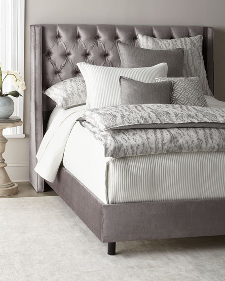 Neerah Velvet Tufted Queen Bed
