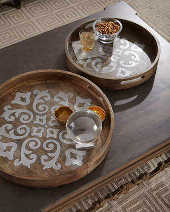Round Wood Tray w/ Metal Inlay, 20