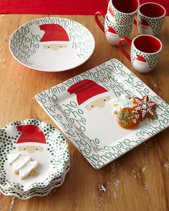 Ho Ho Santa Ruffle Christmas Plates, Set of 4  and Matching Items