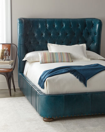 Forrest Tufted Leather Queen Shelter Bed  and Matching Items