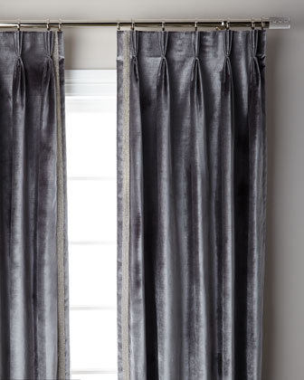 Graphite Pave 3-Fold Pinch Pleat Curtain Panel, 96