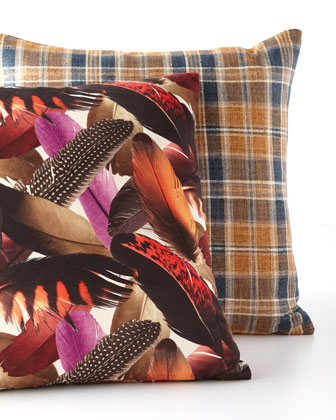 Stately Plaid Pillow  24Sq.  and Matching Items
