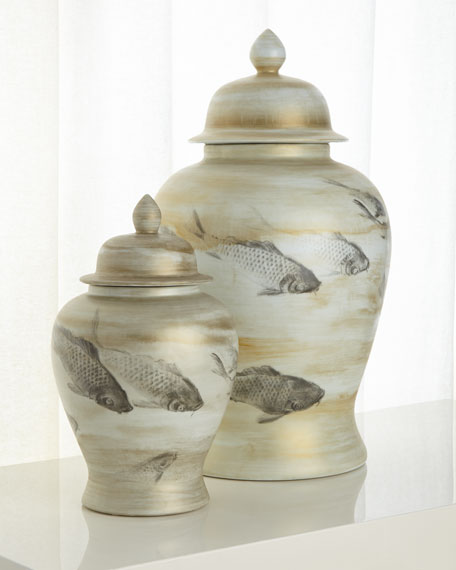 Small Lidded Porcelain Vase with Fish Pattern