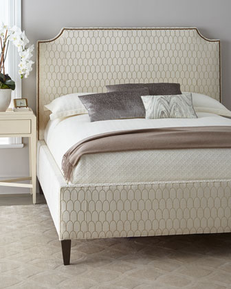 Doria Golden Lace Queen Upholstered Bed  and Matching Items