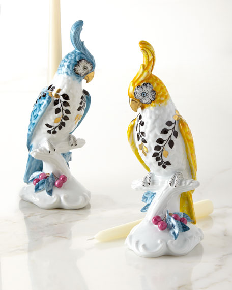 Porcelain Cockatoo Candleholder - Left Facing