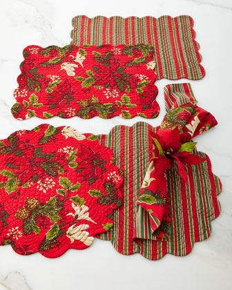 Poinsettia Pine Napkins, Set of 4 and Matching Items