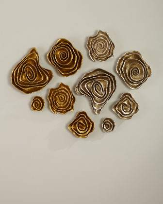 Freeform Floral Wall Plaques - Golden Finish, Set of 5  and Matching Items