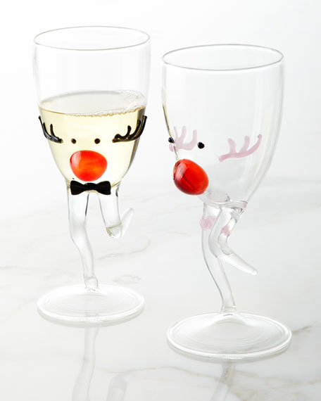 Miss Reindeer Christmas Drinking Glass with Stem