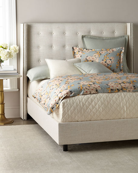 Lisabeth California King Tufted Wing-Back Bed