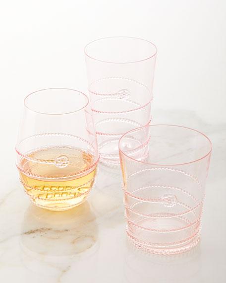 Amalia Stemless White Wine Glass, Petal Pink