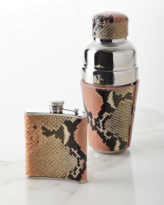 Snake-Embossed Leather Flask and Matching Items
