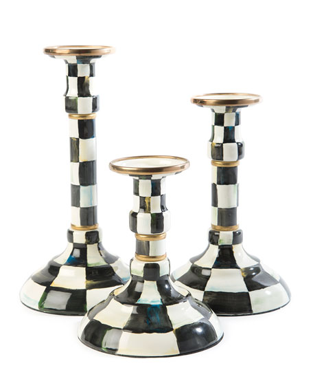 Courtly Check Enamel Medium Candlestick Holder