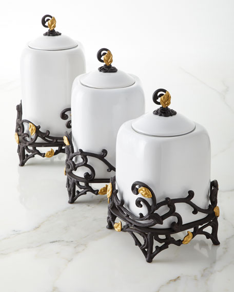 White Stoneware Small Canister with Metal Gold Leaf Base