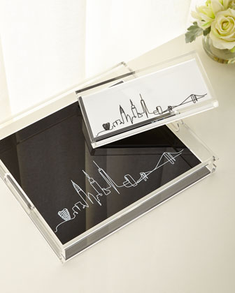 Line Drawing Skyline Small Tray  and Matching Items