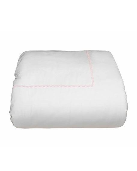 Bitsy Dots Full/Queen Duvet Cover, White/Light Pink